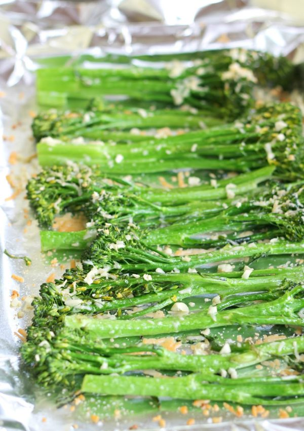Garlic & Parmesan Roasted Broccolini (Toddler Approved)