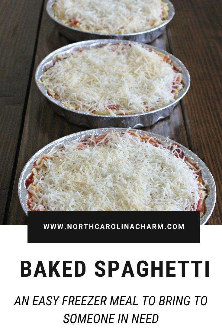 North Carolina lifestyle blogger, Christina shares an easy Baked Spaghetti family dinner recipe! This is a perfect freezer meal as well!