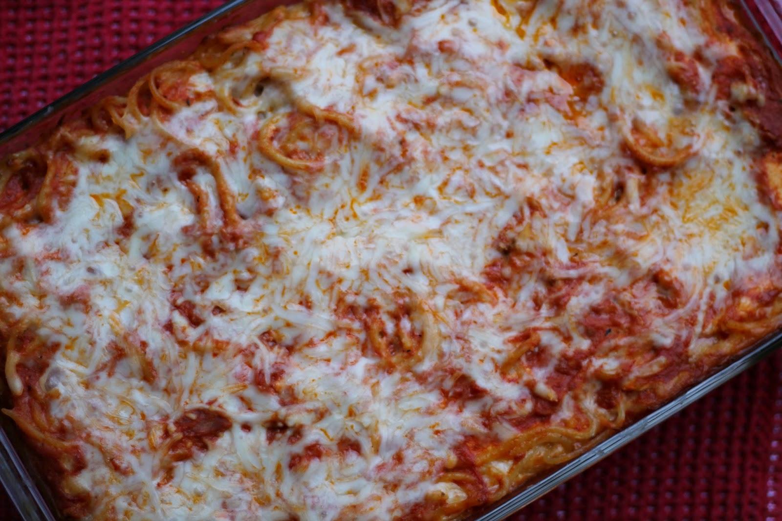 baked spaghetti in dish