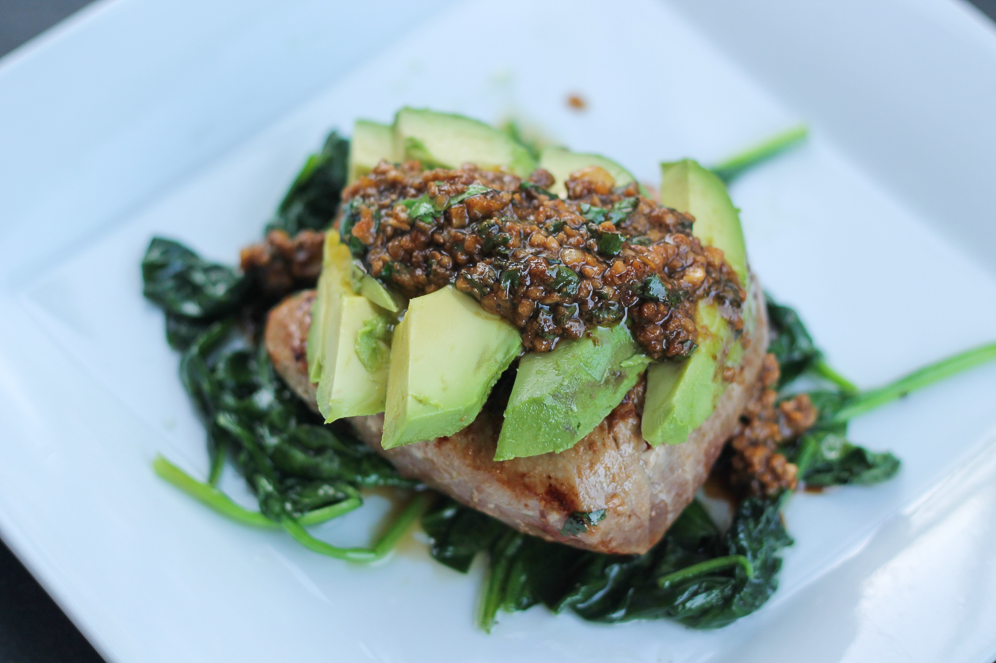 Grilled Citrus Tuna Steak with Avocado & Spinach