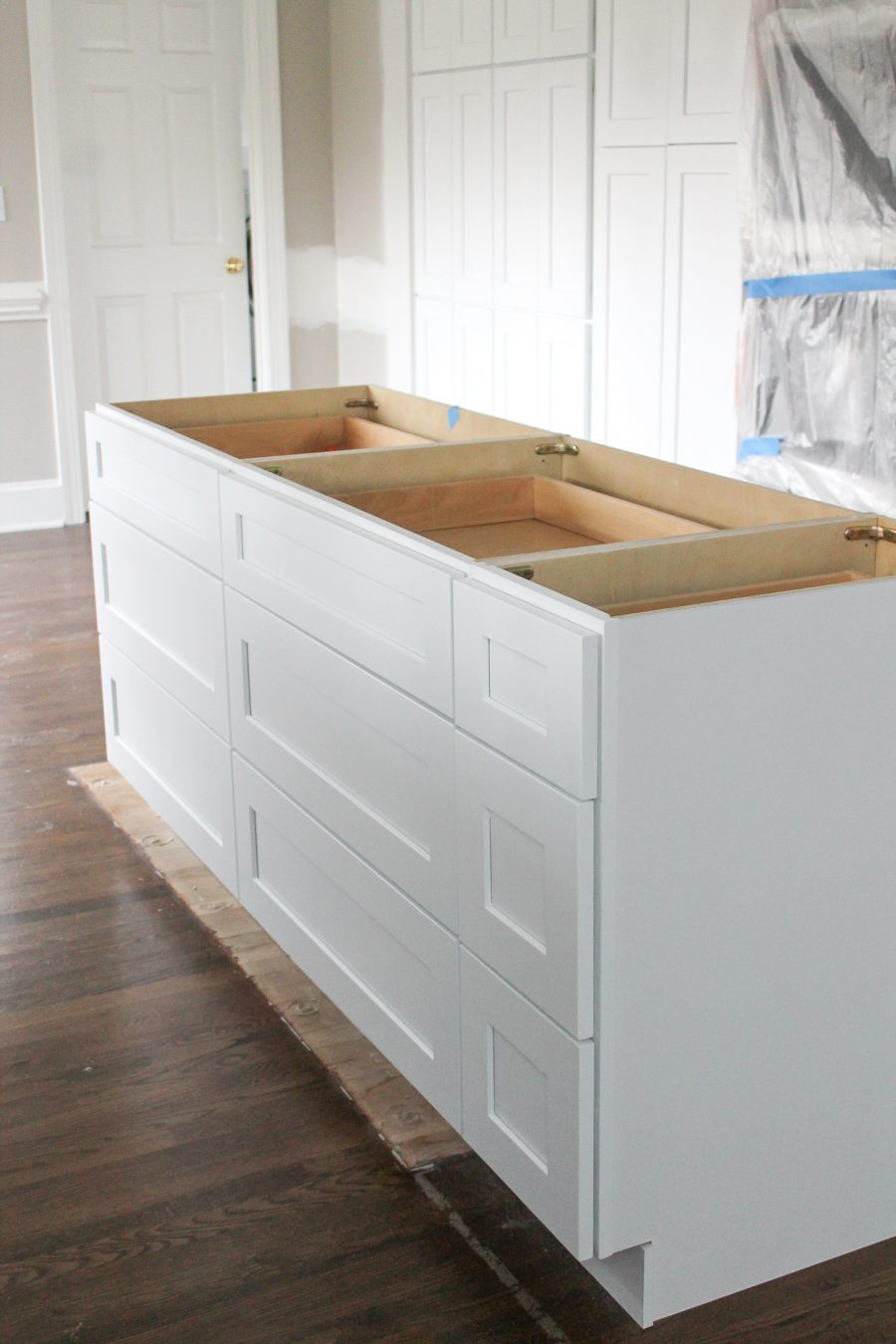 kitchen island in construction