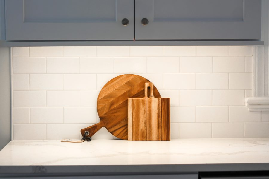 kitchen counter with cutting boards