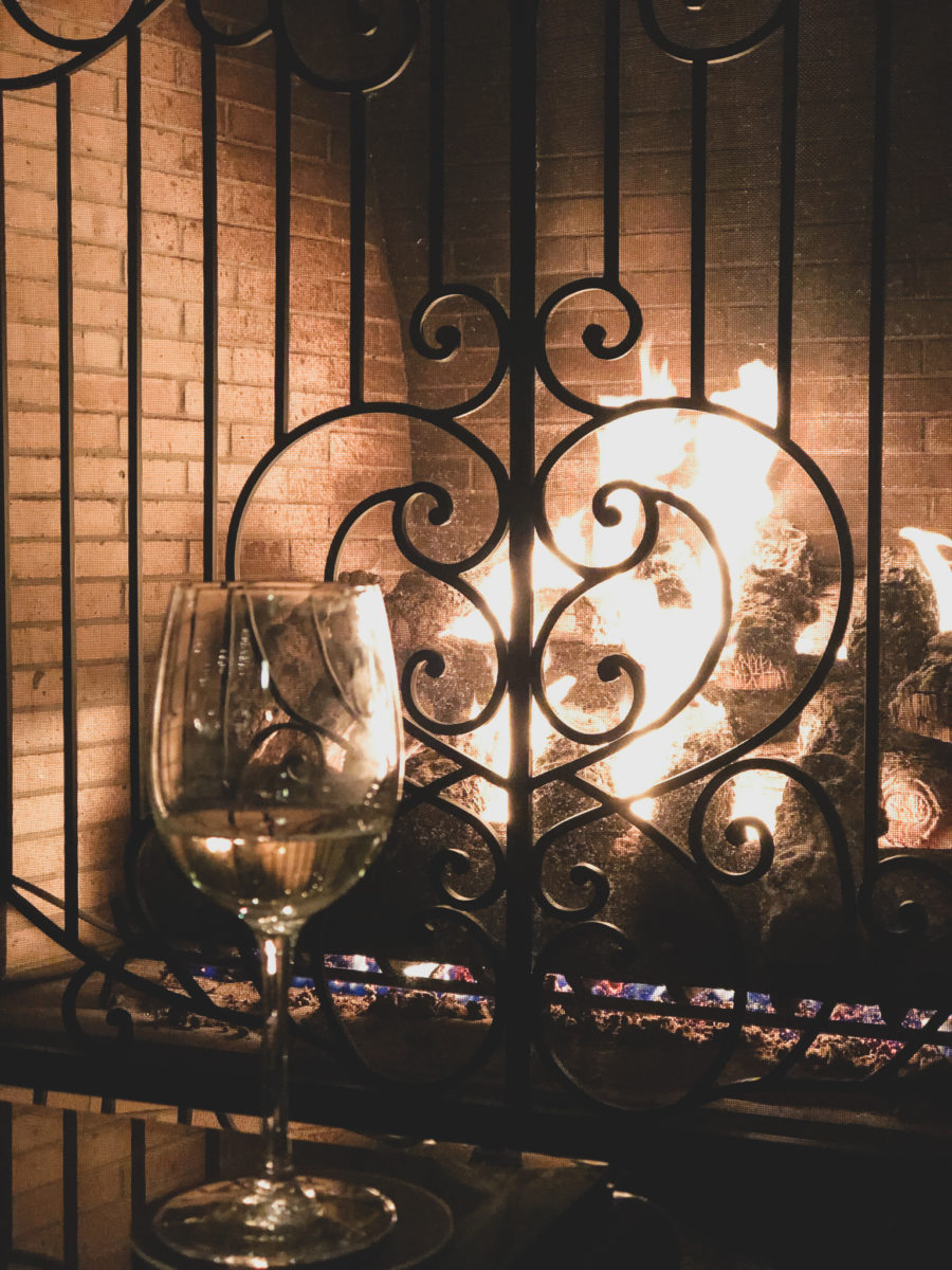 wine at fireplace