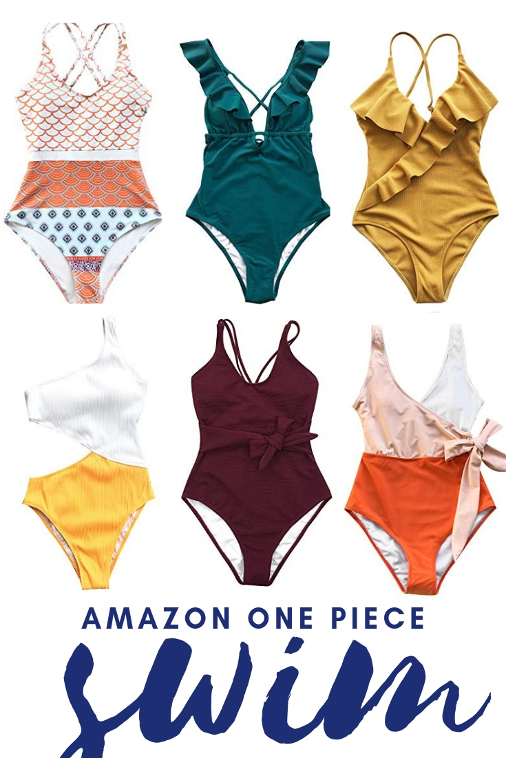 North Carolina lifestyle blogger, Christina shares a look at the best one piece swim suits with this Amazon Swim Suit round up!