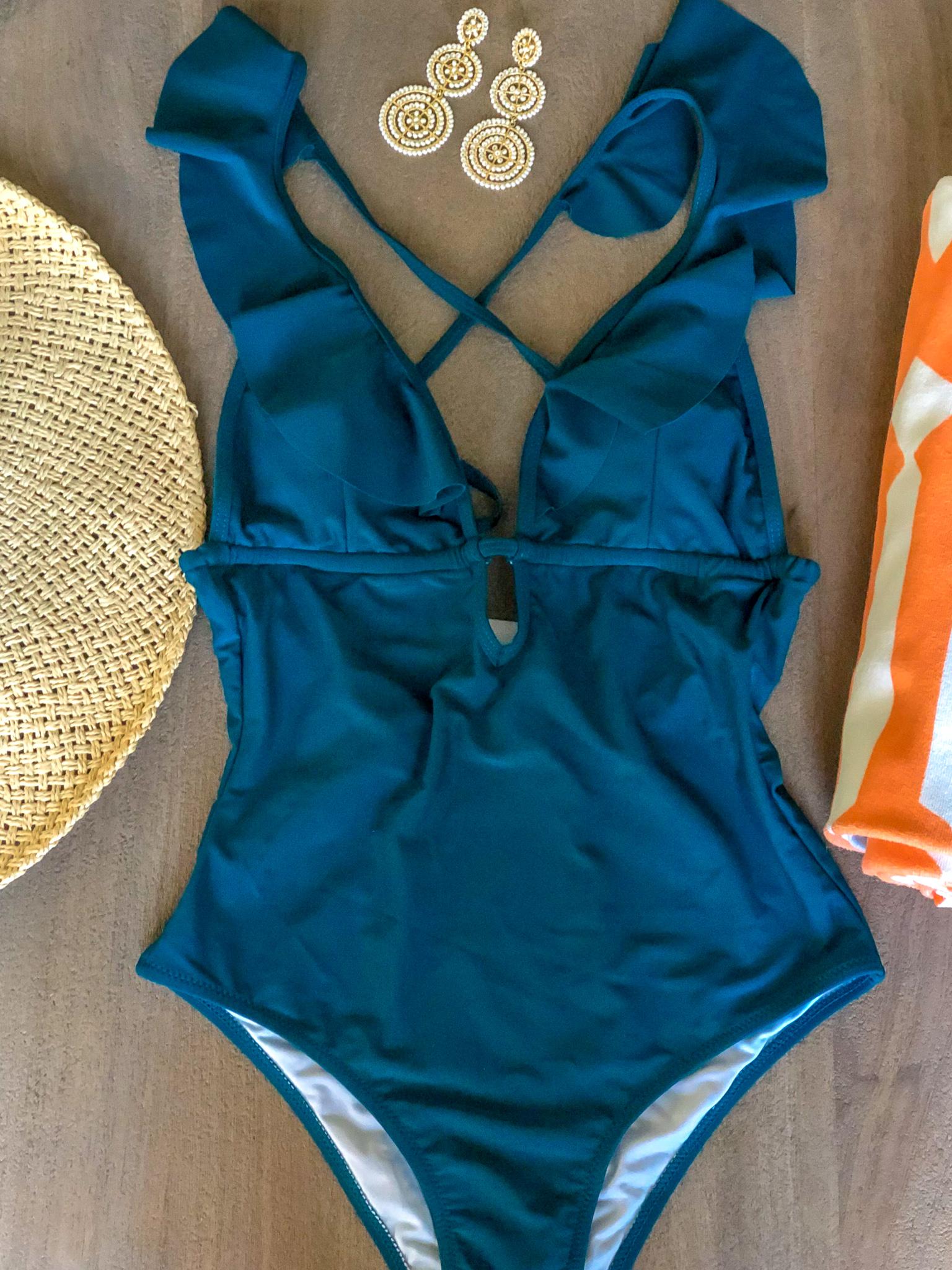 turquoise deep V swim suit amazon