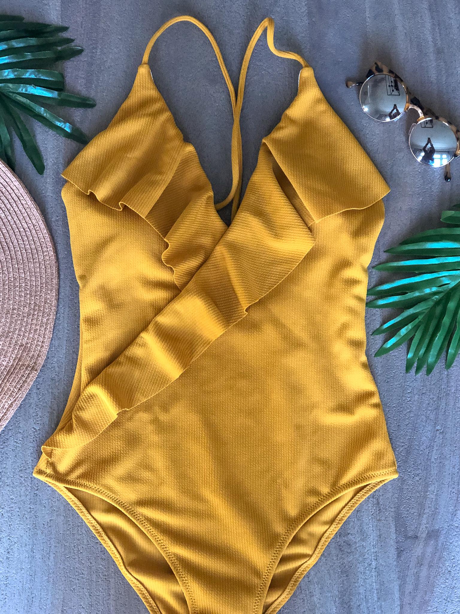 yellow ruffle swim suit amazon