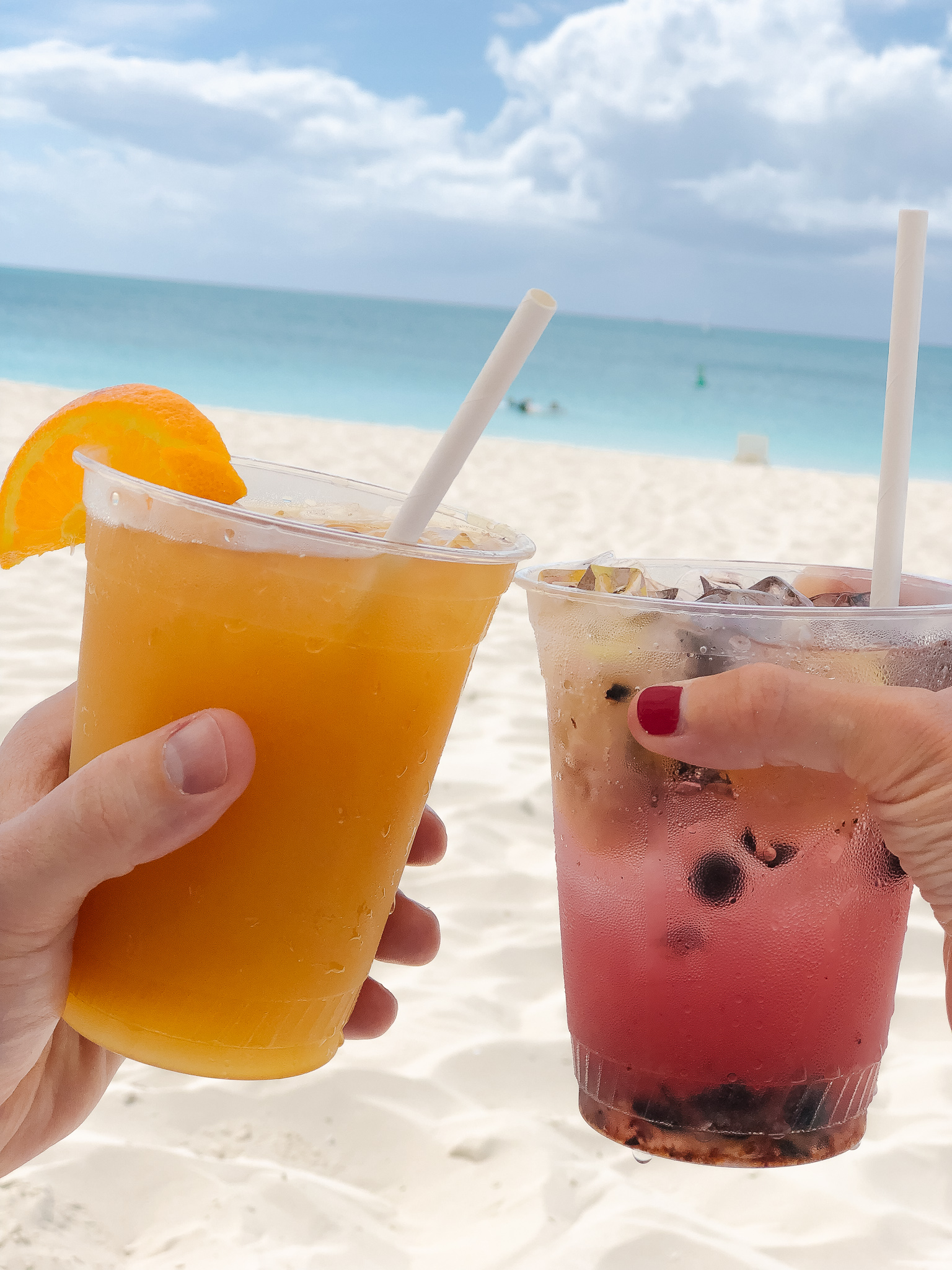 drinks on the beach in Turks & Caicos