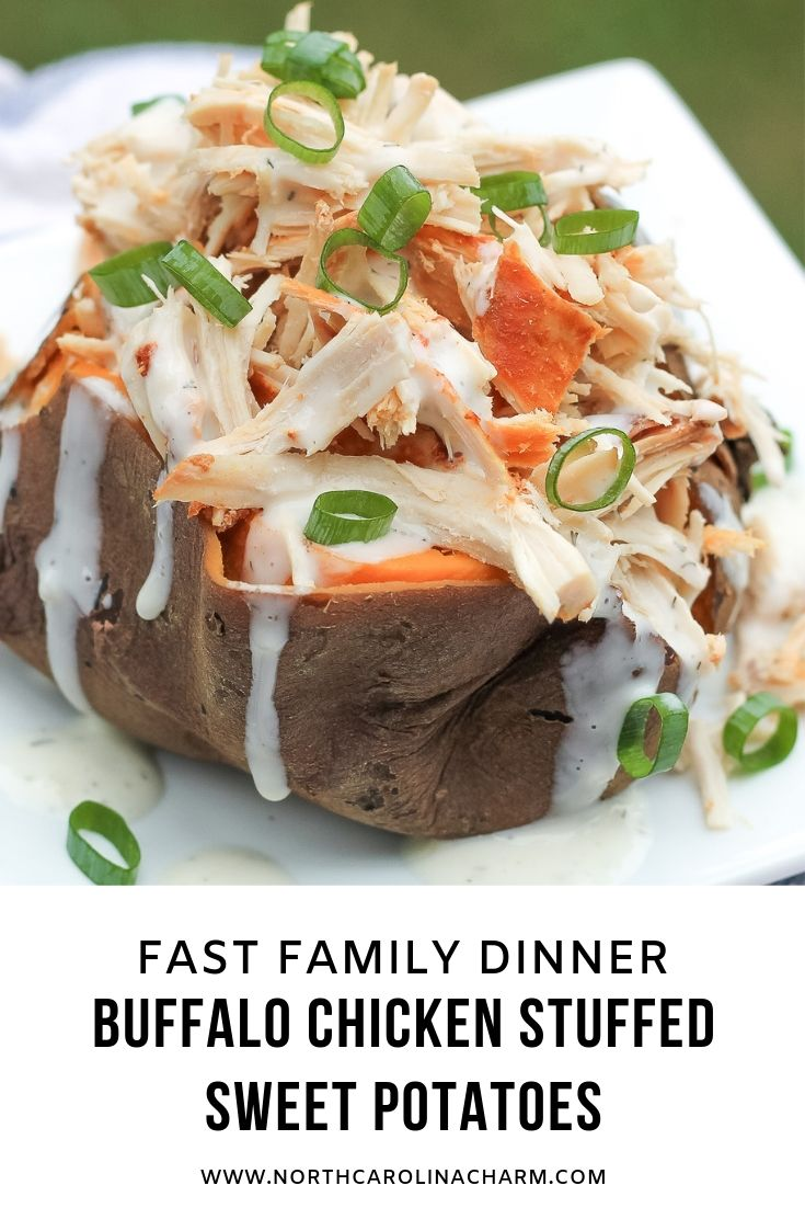 North Carolina lifestyle blogger, Christina shares a delicious Buffalo Chicken Stuffed Sweet Potatoes recipe! Check out this fast family crockpot meal!