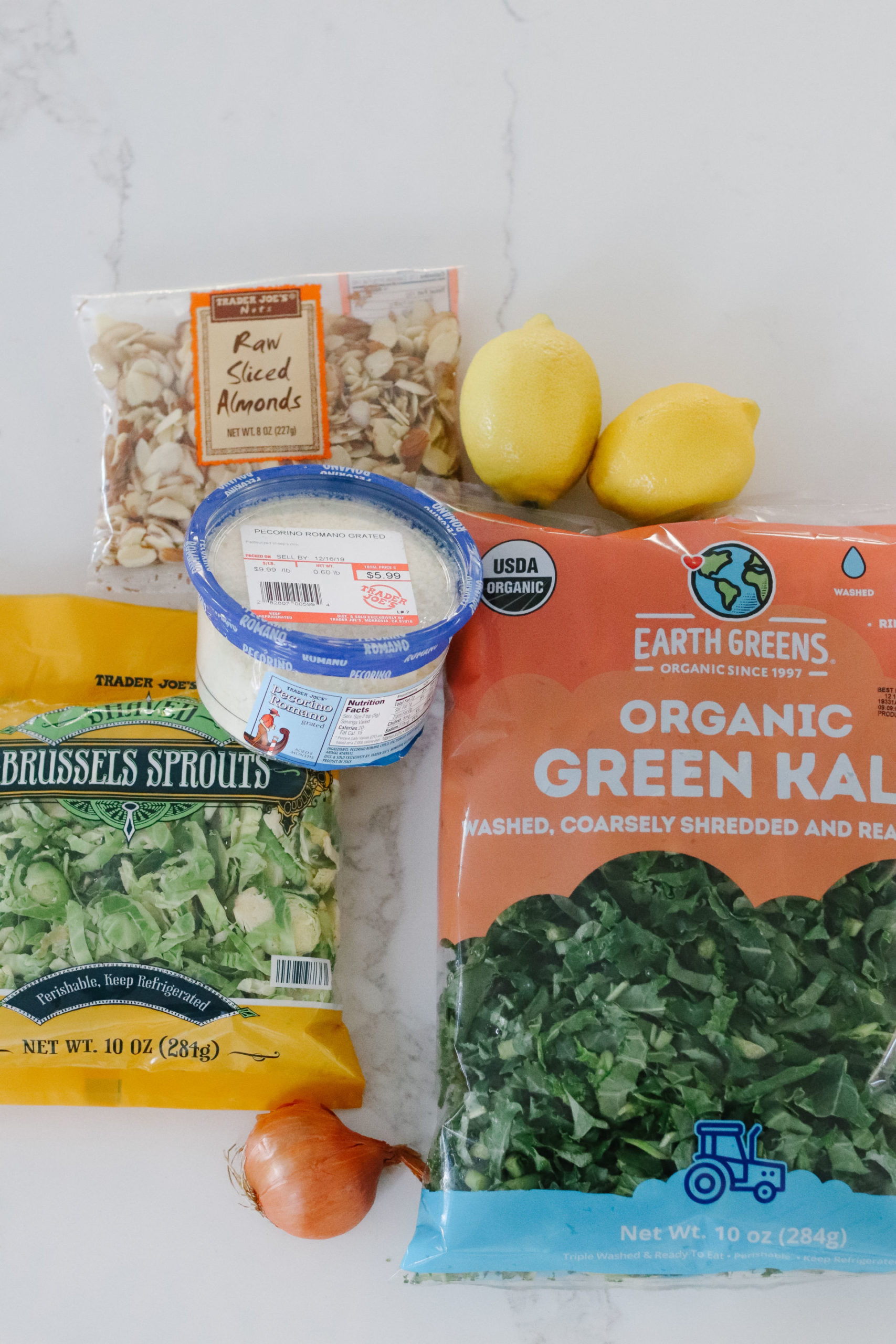 Kale & Brussels Sprouts salad ingredients