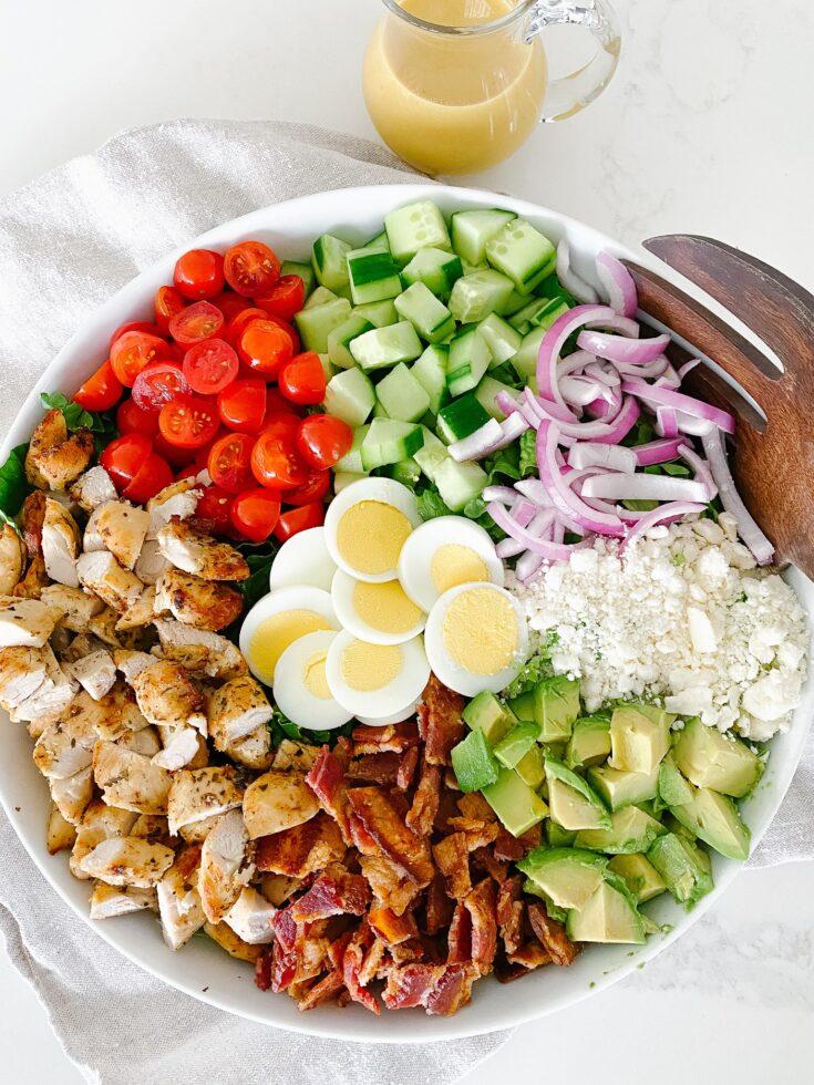 The Best (Air Fried) Chicken Cobb Salad with Honey Dijon Vinaigrette