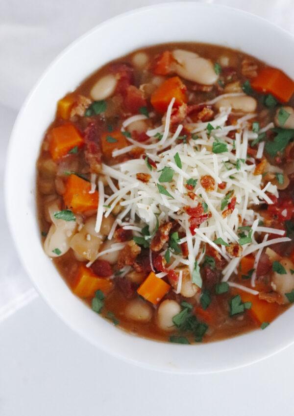 White Bean & Lentil Soup (Vegan, Dairy-Free)